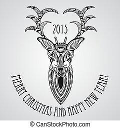 Tarjeta de Navidad Vector con ciervos