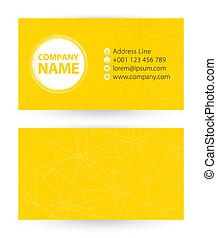 Tarjeta de negocios en el pasado abstracto amarillo con icono por dirección, teléfono, correo y sitio web.