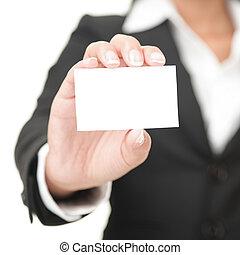 Tarjeta de negocios. Mujer de negocios con un cartel en blanco