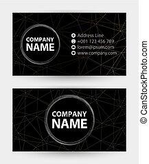 Tarjeta de negocios negra, tarjeta abstracta con icono por dirección, teléfono, correo y sitio web.
