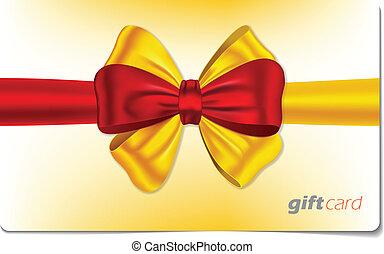 Tarjeta de regalo con arco colorido