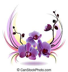 Tarjeta de saludo Vector con ramo de orquídeas
