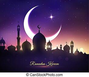 Tarjeta de saludo Vector para Ramadan kareem vacaciones