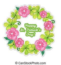 Tarjeta de San Patricio con flores y trébol