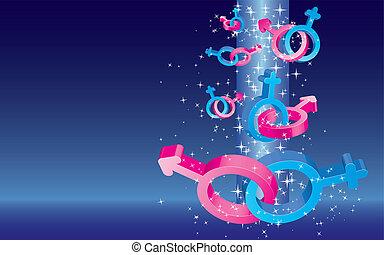 Tarjeta de San Valentín con signos de sexo de color cayendo con estrellas y lugar para texto en el fondo azul, ilustración vectorial