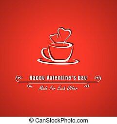 Tarjeta de San Valentín con taza de café vector de ilustración