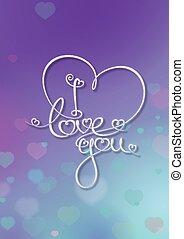 Tarjeta de San Valentín, te quiero, azul púrpura