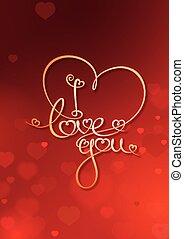Tarjeta de San Valentín, te quiero, roja