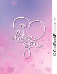 Tarjeta de San Valentín, te quiero, rosa púrpura