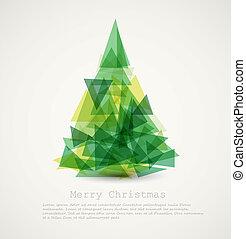 Tarjeta de vector con árbol de Navidad verde abstracto