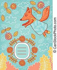 Tarjeta de vector con carácter de zorro y flores.