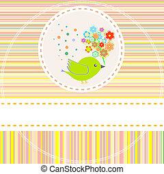 Tarjeta de vector con lindas flores de aves