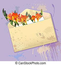 Tarjeta de violeta con sobre grunge y flores