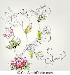 Tarjeta decorativa de primavera