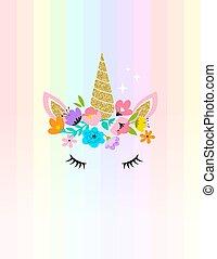 tarjeta, -, diseño, flores, cabeza, camisa, unicornio