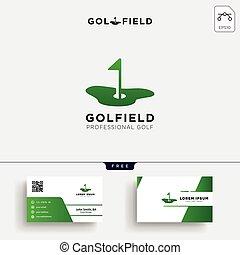 tarjeta, empresa / negocio, plantilla, o, logotipo, diseño, golf, mapa, ubicación