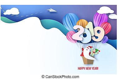 tarjeta, feliz, año, santa, nuevo, diseño, 2019, duende