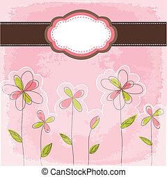 Tarjeta floral con cuadro