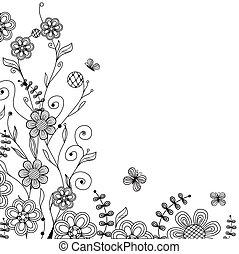 Tarjeta floral con flores y mariposas