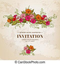 Tarjeta Floral de diseño, fondo, invitación en vector
