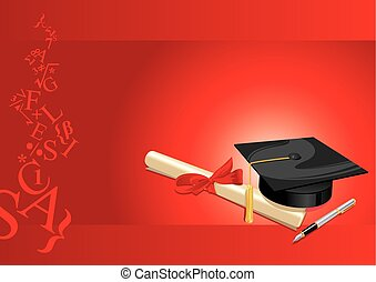 tarjeta, grado, universidad, saludo, rojo, colegio