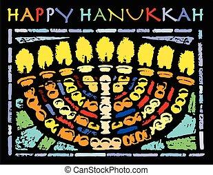 tarjeta, hanukkah, feliz