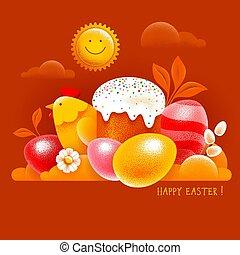 tarjeta, huevos, pastel, pascua, coloreado, barnizado, feliz, pollo, símbolos, saludo