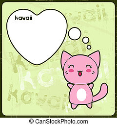 Tarjeta Kawaii con gato lindo en el fondo grunge.