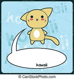 Tarjeta Kawaii con lindo gato en el fondo grunge.