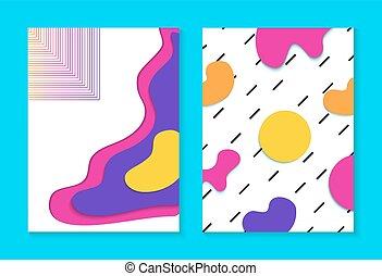 tarjeta, memphis, plano de fondo, colorido, conjunto, resumen