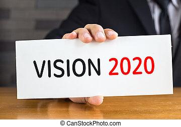 tarjeta, mensaje, asimiento, 2020, blanco, visión