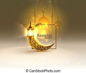 tarjeta, mezquita, fondo., manuscrito, vista, dibujado, noche, vector, cubierta, card., saludo, arco, ramadan