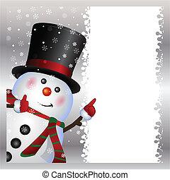 Tarjeta, muñeco de nieve