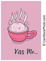 tarjeta, mug., s, graphics., vector, lindo, valentine, café, día