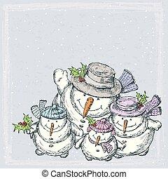 tarjeta, navidad de la familia, alegre, snowmen