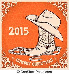 tarjeta, nuevo, objetos, saludo, vaquero, occidental, año