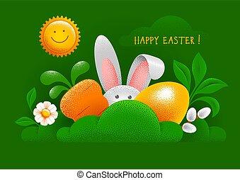 tarjeta, paliza, conejito de pascua, huevo, zanahoria, feliz, pasto o césped, saludo