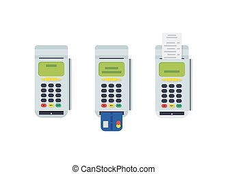 tarjeta, plano, eps10, moderno, pos, terminal, credito, diseño, impreso, vector., reciept., insertado, element.