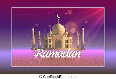 tarjeta, ramadan, vista, dibujado, mezquita, fondo., arco, manuscrito, saludo, card., noche, cubierta, vector