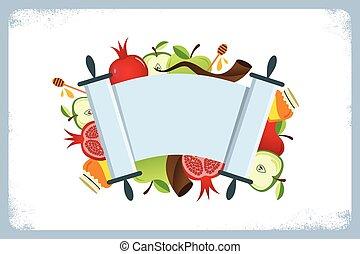 tarjeta, símbolos, feriado, hashana, judío, tradicional, rosh