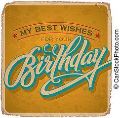 tarjeta, (vector), vendimia, cumpleaños