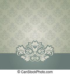 Tarjeta vintage elegante con antecedentes sin costura de damasco