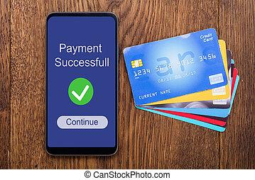 tarjeta, vista, ángulo, alto, mobilephone, credito