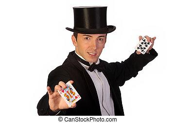 tarjetas, amaestrado, joven, mago