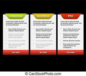 tarjetas, comparación, producto, vector, versions