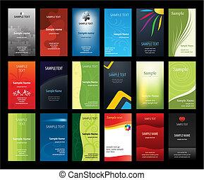 tarjetas, conjunto, empresa / negocio, verical