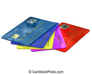 tarjetas, credito, colorido