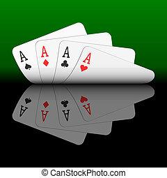 tarjetas, cuatro ases, juego