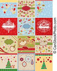 Tarjetas de Navidad y elementos de diseño