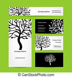 Tarjetas de negocios con silueta de árbol abstracto